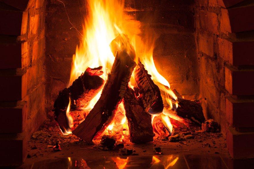 ogenj v kaminu