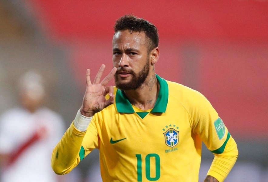 Neymar Jr. (na fotografiji) po zadnjem golu na tekmi s Perujem.