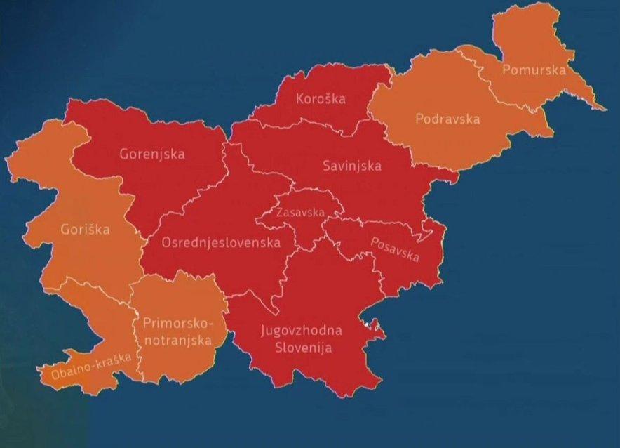 Rdeče in oranžne regije