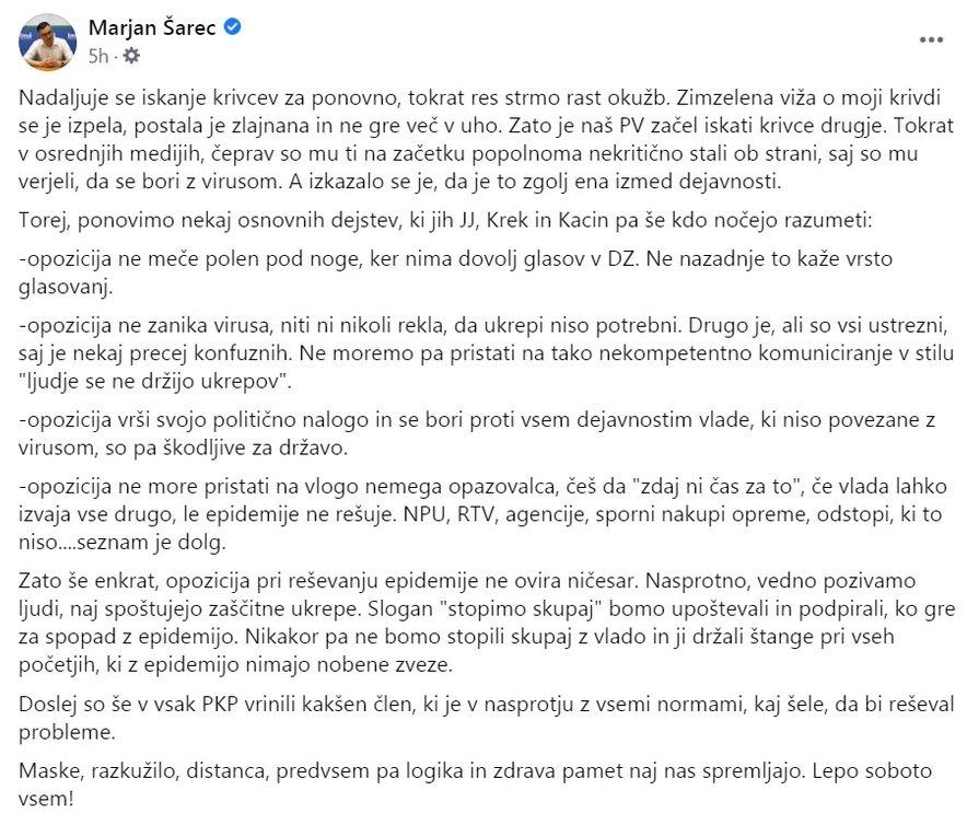 Objava vodje največje opozicijske stranke Marjana Šarca na Facebooku.