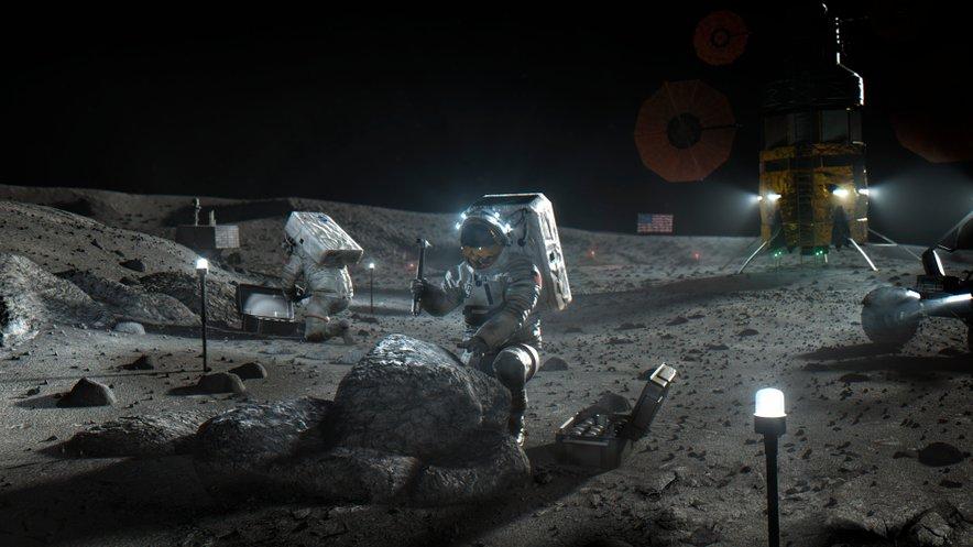 Nasina ilustracija astronavtov Artemide na Luni