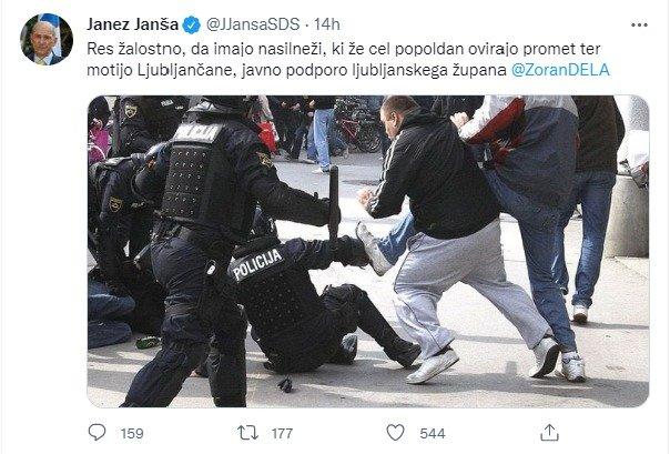Janševa objava na družbenem omrežju.