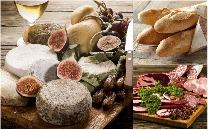"""Kljub vsej raznolikosti ima pestra francoska kulinarika nekaj skupnih lastnosti. To so siri (med najbolj znanimi so brie, roquefort in camembert), bageta in charcuterie (suho, dimljeno ali drugače predelano meso), ki veljajo za nekakšno """"sveto trojico"""" francoske kulinarike."""