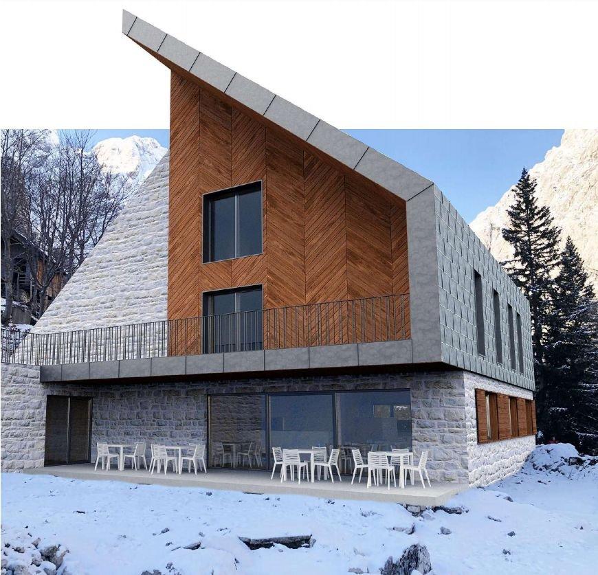 Zgradbo s skupaj 600 kvadratnimi metri površine je zasnoval arhitekturni biro Kultivator iz Celja. Zunanjost bodo krasili kamen, les, steklo in kovina.