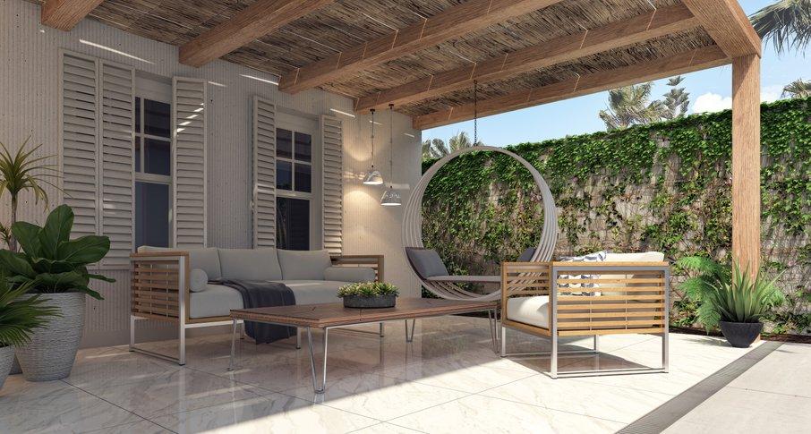 Pohištvo je lahko videti, kot bi ga preselili iz notranjega prostora.